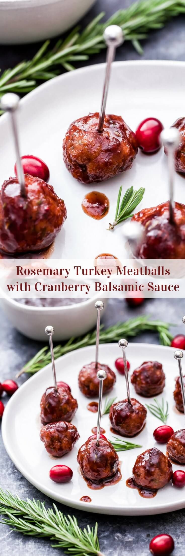 Use Amethyst and silver party picks.   Every party needs a good meatball and these Rosemary Turkey Meatballs with Cranberry Balsamic Sauce are sure to be a crowd pleaser this holiday season!