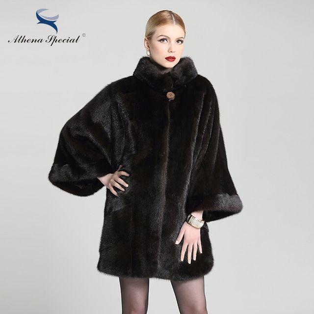 Athena Tipo Especial 2016 Moda Batwing Manga Mulheres de Pele De Vison casacos Casaco De Pele Natural De Cor Marrom Escuro Genuíno Real Mink