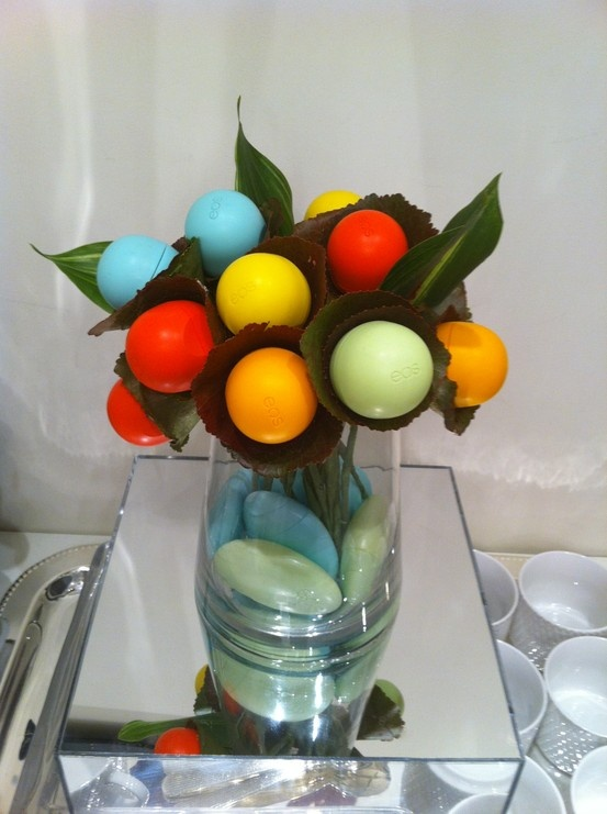A floral lip balm arrangement