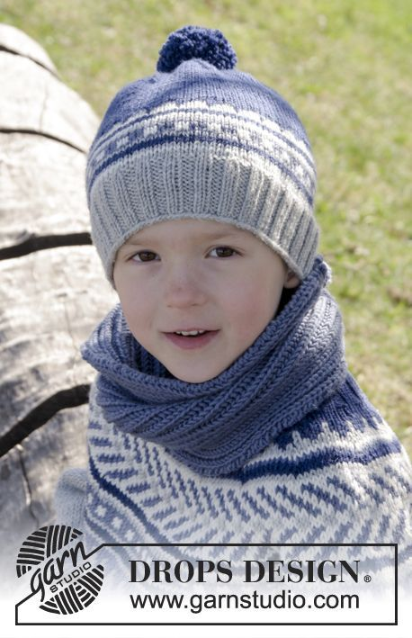 Little Adventure Set consisting of hat and cowl for the kids by DROPS Design. Free #knitting pattern