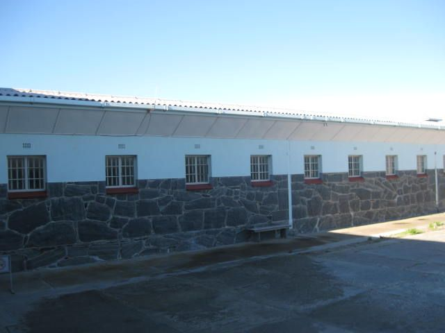 View of Nelson Mandela's cell - 4th from the left - from the courtyard.