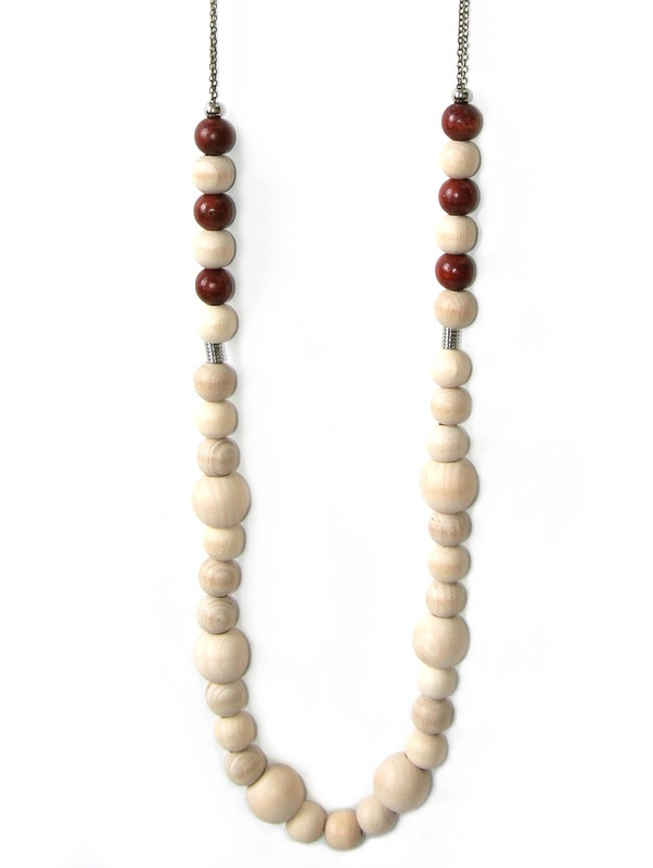 bahama:NL02 $50. A very long fine bronze chain necklace with raw wooden beads