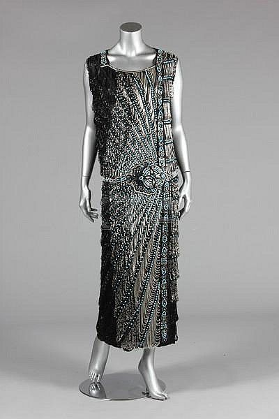 Amazing 1922 fully beaded on Black chiffon ground, flapper dress w/ embroidered belt of silver & turquoise beads, cascades & looped fringes