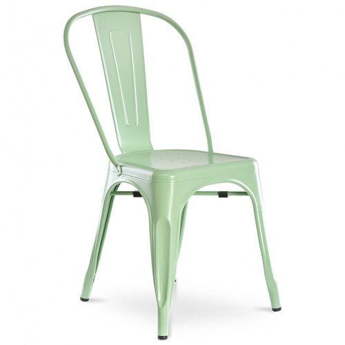 Metalowe krzesło ALFREDO miętowe insp. Tolix - Sklep meblownia.pl