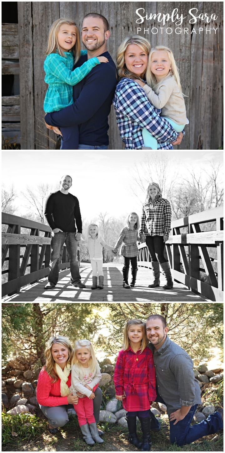 Outdoor Family Photo Ideas & Poses - Mom & Dad with Daughters - Barn & Bridge Photos - Teal & Navy Blue Outfits - Pink, Gray, Blue & Cream Colors - Pine Trees - Fall Photos - Billings, MT Family Photographer