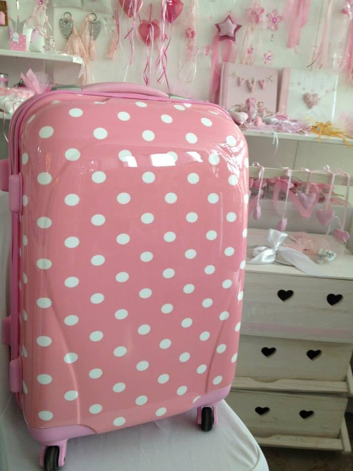 Βαλίτσα Trolley ρόζ με βούλες