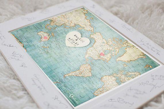 Wedding Guest Book Alternative World Map 8x10 by inspiredartprints