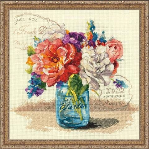 Dimensions® Garden Bouquet Kit & Frame Counted Cross-Stitch Kit