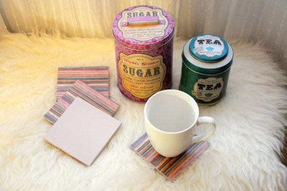 Wood Coasters stripes pattern-set of 4