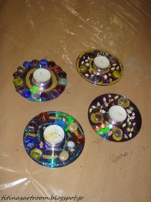 candle with old cd's