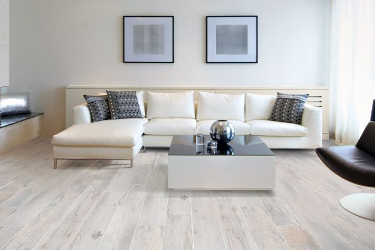 Memory Blanco whitewashed wood effect porcelain floor tiles