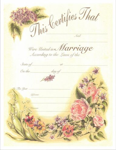 CLEARANCE: Antique Floral Marriage Certificate