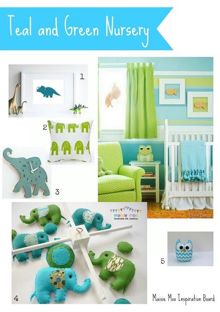 Teal and Green Nursery, Baby Mobile, Aqua Elephants, Dinosaur