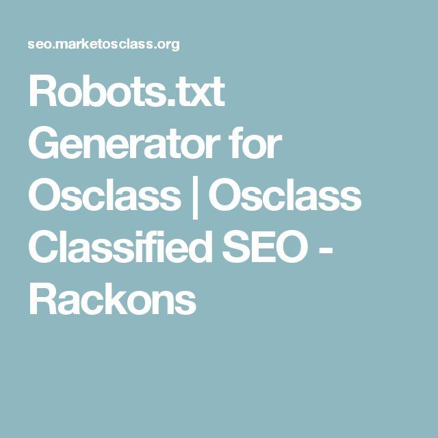 Robots.txt Generator for Osclass | Osclass Classified SEO - Rackons