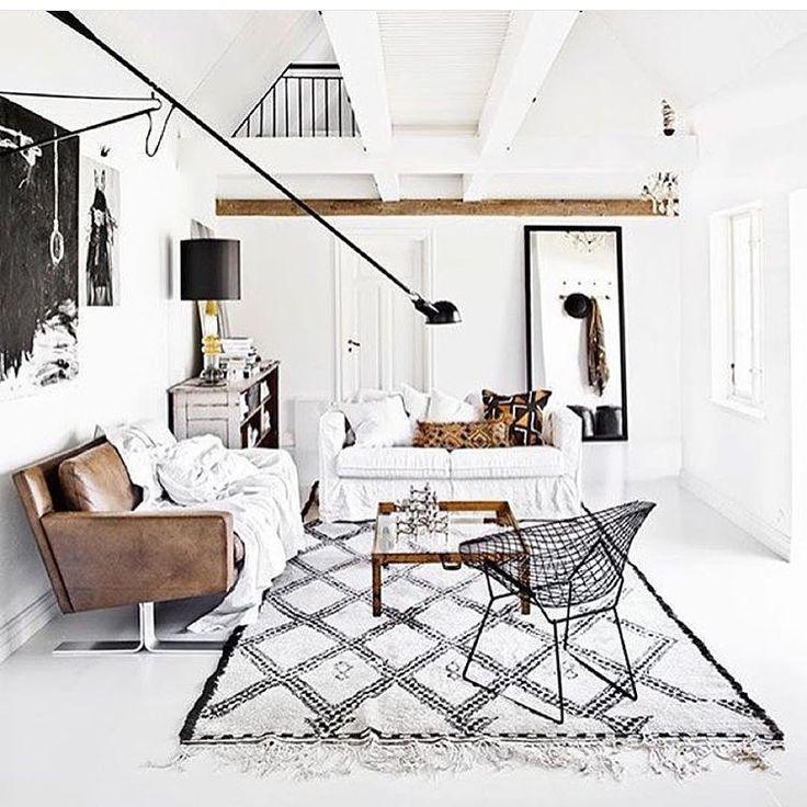 White black + leather boho minimalist living room