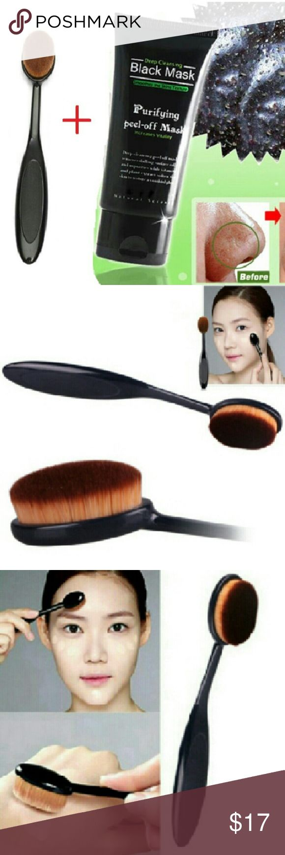 Blackhead Remove Acne Mask + Foundation Brush Tool Specification :50 g/branch Usage :Dry the cleansed area and apply the masque on desired area(avoid eyebrow,eyes,and lips).peel it off after 20-30 minutes.  Cosmetic Makeup Face Brush Blusher Tooth brush  Package including : 1 pc Blackhead Remover Mud Makeup Foundation