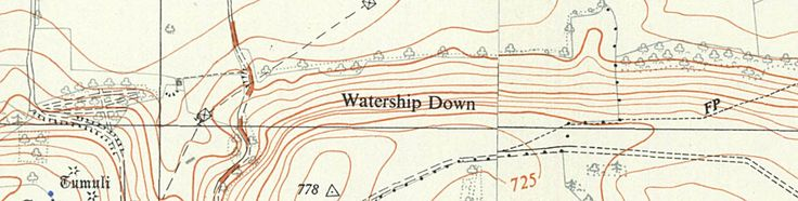 1958 Ordnance Survey map of Watership Down. This is from the time in which Richard Adams lived in this area, and may well be the map he used to explore Watership Down.