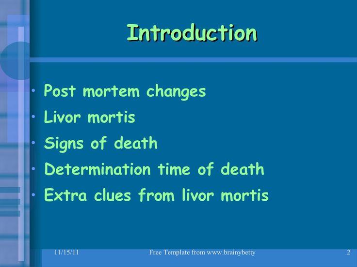 Giới thiệu   Thay đổi tử vong     Livor mortis     Dấu hiệu chết    <...