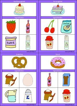 Met deze bakkerskaarten kunnen de kinderen oefenen met het bij elkaar zoeken van de benodigde materialen voor een recept, deze en nog vele andere kun je downloaden op de website van Juf Milou.