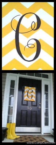 yellow chevron monogram easy DIY free tutorial for spring porch! via @CampClem