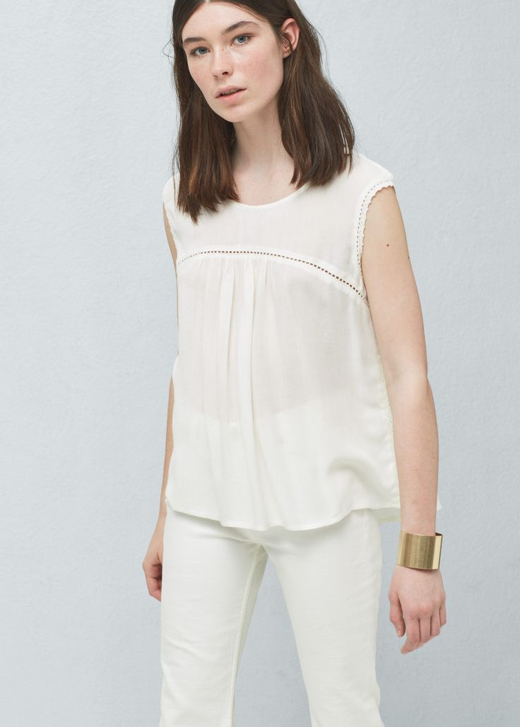 Blond lace panel top | MANGO