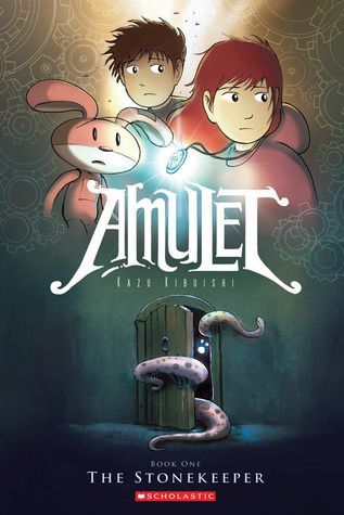 GRAPHIC NOVEL PICK! Amulet: Book One, The Stonekeeper / Kazu Kibuishi ~ 	  After the tragic death of their father, Emily and Navin move with their mother to the home of her deceased great-grandfather, but the strange house proves to be dangerous. Before long, a sinister creature lures the kids' mom through a door in the basement. Em and Navin, desperate not to lose her, follow her into an underground world inhabited by demons, robots, and talking animals.