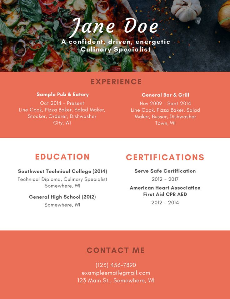 Resume for Culinary Specialist Editing writing, Writing