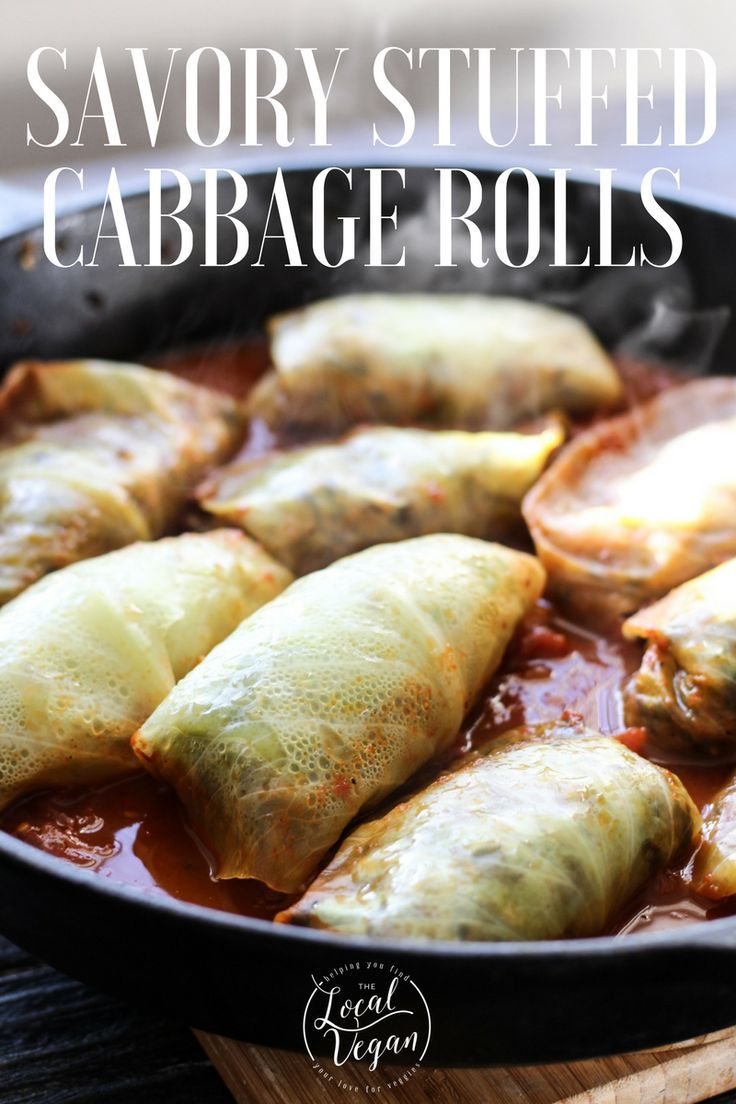 Savory Cabbage Rolls - - Healthy #Vegan Dinner Recipes - #plantbased #cleaneating