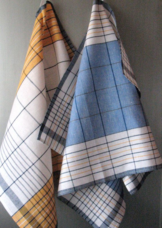 Linen Cotton Dish Towels Yellow Blue White Tea by Coloredworld, $15.90