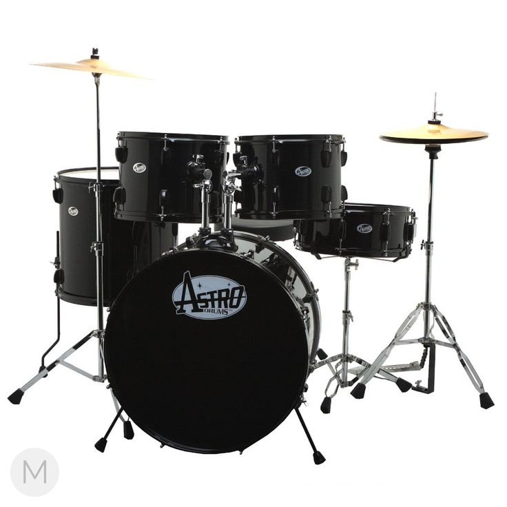 "Astro 5pc Complete Drum Set. This kit is perfect for students at a very affordable price. - 22"" bass drum - 12"" & 13"" rack toms - 16"" floor tom - 14"" snare drum - Stands - Pedals - Cymbals - Drum Seat"