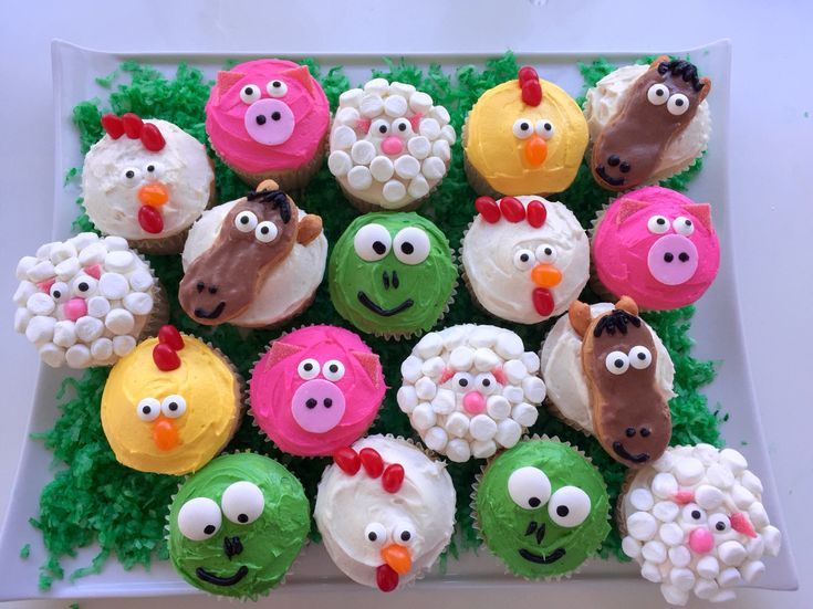 "Farm animal cupcakes for my nephew's ""little blue truck"" first birthday party."