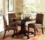 Kind of like the textured look of these seagrass chairs with the smooth lines of this pedestal dining table - Pottery  Barn's Tivoli Fixed Pedestal Dining Table in Tuscan chestnut and Seagrass chairs in Havana Dark Weave