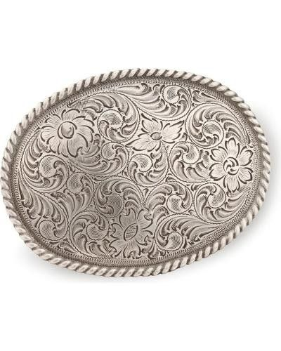"Nocona floral belt buckle in classic western style. Intricate floral engraved detail. Framed with traditional rope border. Fits belts up to 1 3/4"" wide. Fancy-up your favorite belt with the Nocona flo"