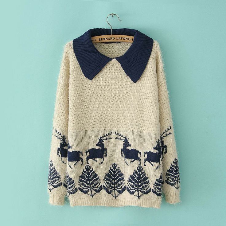 The navy collar adds a stylish twist to this classic Christmas knit #Xmasjumperday