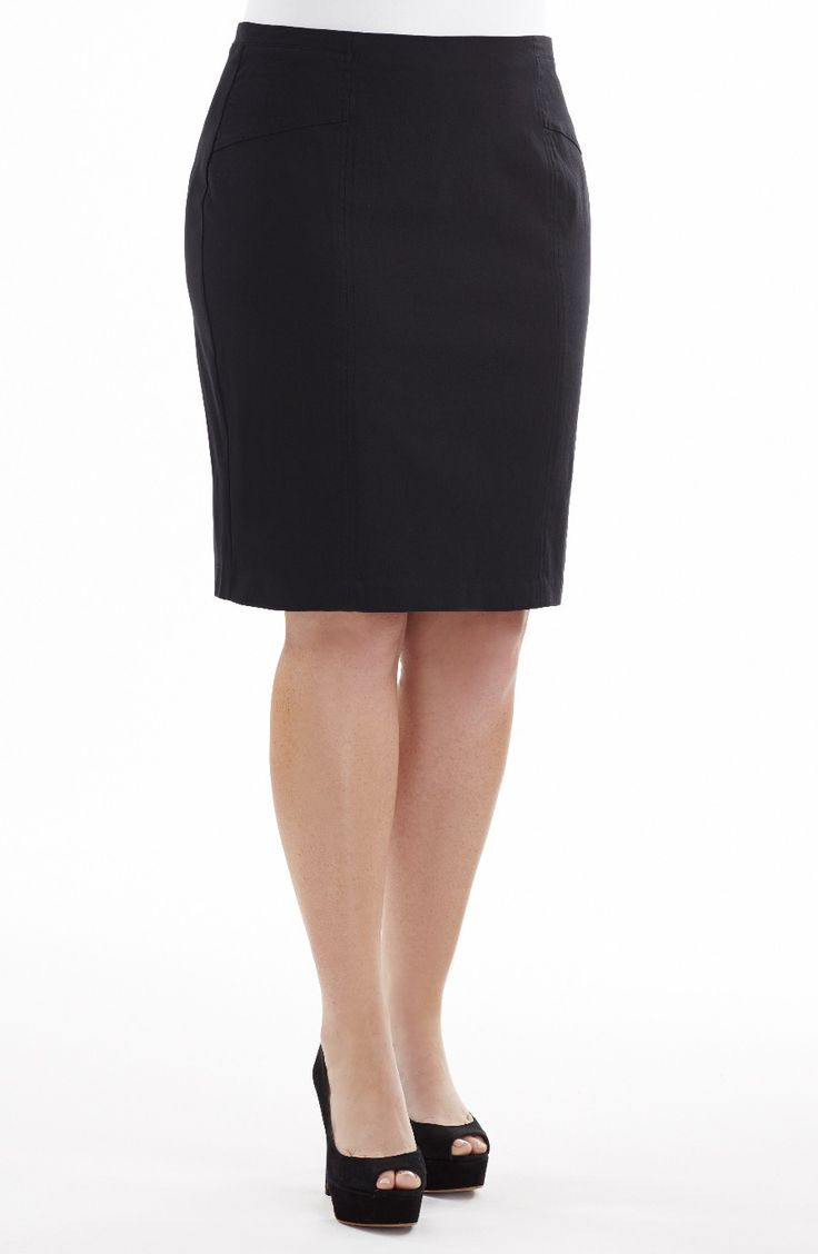stitch Detail Pencil Skirt Black Style No: SK8058 Stretch Bengaline Pencil skirt. This knee length skirt features a stitching detail on the front of the skirt. #dreamdiva #dreamdivafiles #plussize