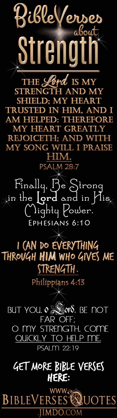 "BIBLE VERSES ABOUT STRENGTH - ""The Lord is my strength and my shield...."""