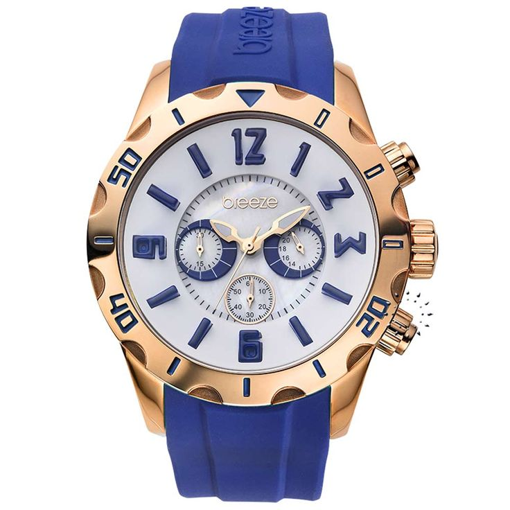 BREEZE California Dream Chrono Vivid Blue Rubber Strap Τιμή: 170€ http://www.oroloi.gr/product_info.php?products_id=30507