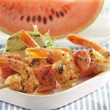Fiery 5 Pepper Shrimp and Watermelon Kabobs: The smoky caramelized flavor of grilled watermelon pairs well with spicy sweet shrimp in these skewers.Shrimp Kabobs, Shrimp Recipe, Fieri, Seafood Dishes, Watermelon Kabobs, Grilled Watermelon, Peppers Shrimp, Favorite Recipe, Grilled Shrimp