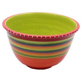 Ceramic bowl hand-painted with a Southwestern stripe motif.  Product: BowlConstruction Material: CeramicColor: MultiFeatures:  Designed by Nancy GreenHand-painted Dimensions: 8.75 H x 11.5 DiameterCleaning and Care: Dishwasher and microwave safe
