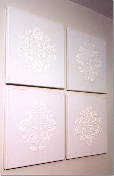 Damask paintings DIY - using puffy paint. Beautiful - and could be  adapted to any image. Complete tutorial.