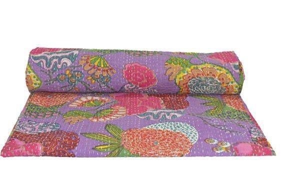 Indian Handmade Throw  Quilt  Bedspread Blanket Print Cotton Kantha