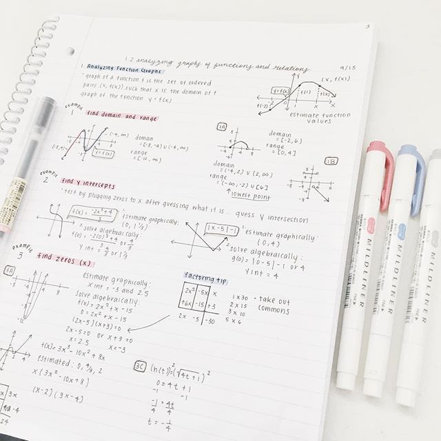 mildliners: red,dark blue, grey + muji black gel pen #maths notes