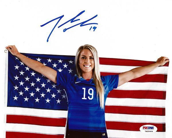 Julie Johnston Autographed 8x10 Photo Team USA Flag PSA/DNA ITP