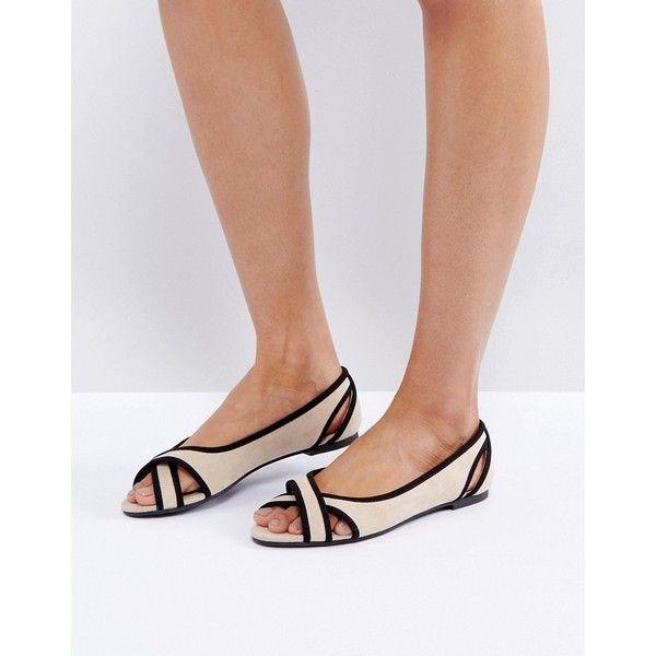 ASOS LADBROOKE Peep Ballet Flats ($25) ❤ liked on Polyvore featuring shoes, flats, beige, peep toe ballet flats, prom shoes, slip on shoes, flat shoes and slip on flats