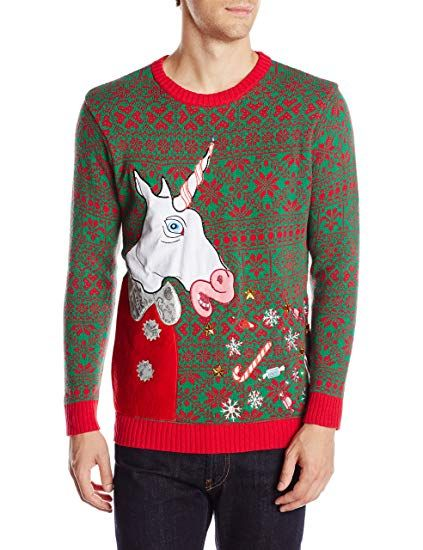 7871ca33439a7e Blizzard Bay Men's Vomiting Unicorn Light Up Ugly Christmas Sweater,  Green/Red/White