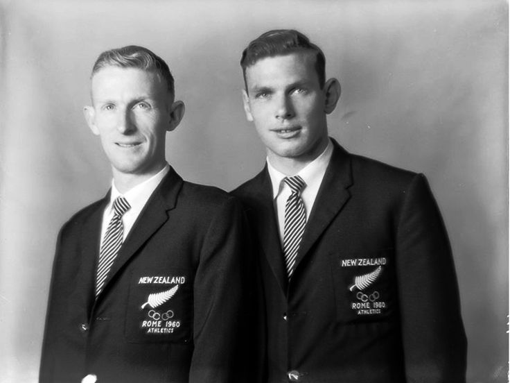 Murray Halberg (left) and Peter Snell (right) running for New Zealand won the 5000 metres and 800 metres respectively at the 1960 Rome Olympics