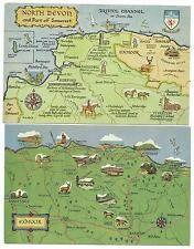 EXMOOR - Two Salmon Map Postcards EXMOOR and NORTH DEVON & SOMERSET