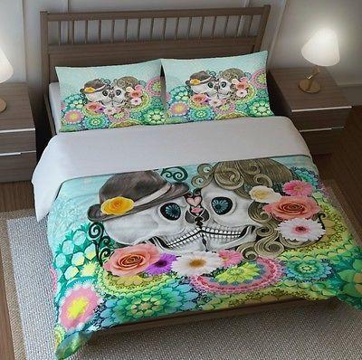 Sugar Skull Bedding, King Size Duvet Set , Mint Mandala Floral , Forever More