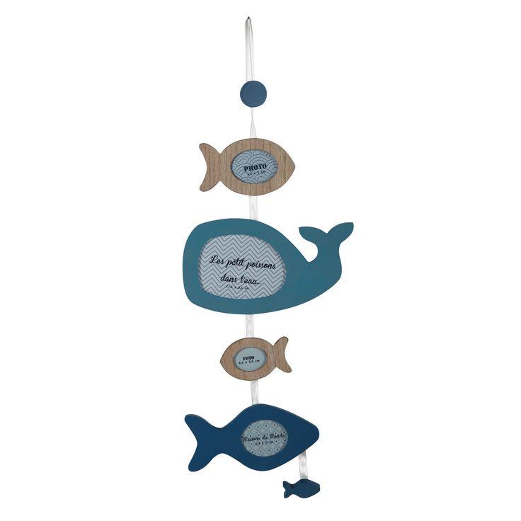 Cadre photo multivues poissons en bois bleu 21 x 57 cm MARIN