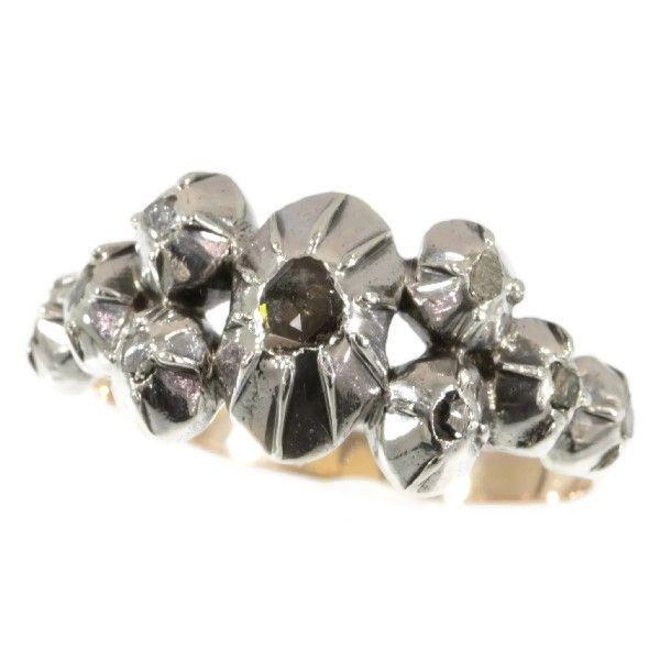 Online veilinghuis Catawiki: Karakteristieke antieke vroeg-victoriaanse zilver op gouden ring met bladgouden set van rozet geslepen diamanten - anno 1850